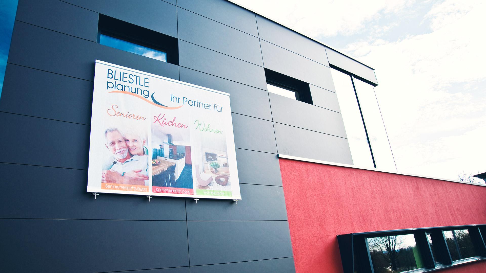 Aussagekräftige Aussenwerbung für das Planungsbüro Wolfgang Bliestle